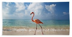 Flamingo Walking Along Beach Beach Towel