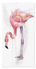 Flamingo Watercolor - Facing Left Beach Towel