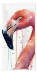Flamingo Watercolor Illustration Beach Towel