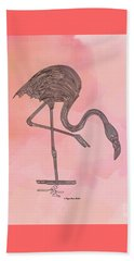 Flamingo4 Beach Towel