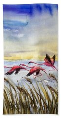 Flamingoes Flight Beach Sheet