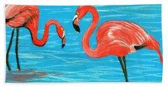 Beach Sheet featuring the painting Flamingos by Anastasiya Malakhova