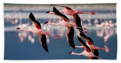 Flamingos In Flight-signed Beach Towel