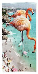 Flamingos On The Beach Beach Towel