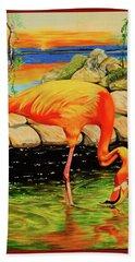 Flamingo's Paradise Beach Sheet by Cheryl Poland