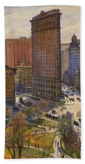 Beach Sheet featuring the painting Flatiron Building New York By Samuel Halpert by Samuel Halpert