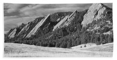 Flatiron Morning Light Boulder Colorado Bw Beach Towel