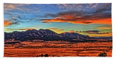 Beach Towel featuring the photograph Flatiron Sunset Fire Red by Scott Mahon
