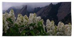 Flatirons White Lilacs Beach Sheet