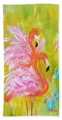 Beach Towel featuring the painting Flaunting Feathers by Judith Rhue