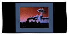 Beach Towel featuring the digital art Flight 175 Mushroom Cloud Framed Example by James Kosior