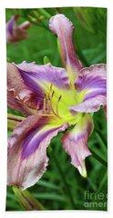 Beach Towel featuring the digital art Flight Of Orchids Daylily by Eva Kaufman