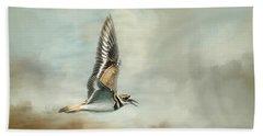 Flight Of The Killdeer Beach Towel by Jai Johnson