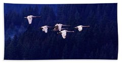 Flight Of The Swans Beach Sheet by Sharon Talson
