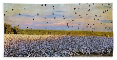 Beach Towel featuring the photograph Flight Over The Cotton by Jan Amiss Photography