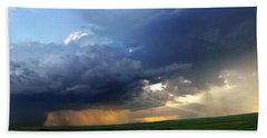 Flint Hills Storm Panorama 2 Beach Towel