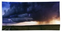 Flint Hills Storm Panorama  Beach Towel