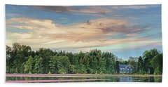 Beach Towel featuring the photograph Floating Cranberries In Front Of Suningive Whitesbog Nj by Beth Sawickie