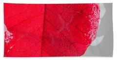Floating Red Leaf 2 Beach Towel