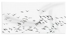 Flock Of Beautiful Migratory Lapwing Birds In Clear Winter Sky I Beach Towel