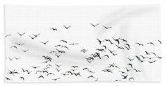 Flock Of Beautiful Migratory Lapwing Birds In Clear Winter Sky I Beach Towel by Matthew Gibson