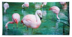 Flock Of Flamingos Beach Sheet