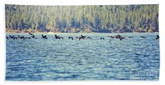 Flock Of Geese Beach Towel