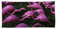 Flock Of  Plastic Flamingos Beach Towel