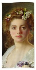 Flora Beach Towel by Gustave Jacquet