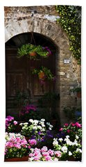 Floral Adorned Doorway Beach Sheet by Marilyn Hunt