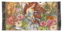 Floral Angel Glamorous Botanical Beach Sheet