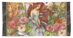 Floral Angel Glamorous Botanical Beach Towel