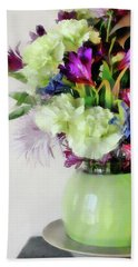 Floral Bouquet In Green Beach Towel
