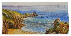 Floral Cliffs Beach Towel