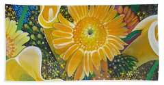 Floral Fireworks Beach Towel