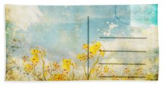 Floral In Blue Sky Postcard Beach Towel