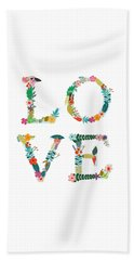 Floral Love Letters Beach Towel