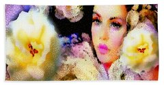 Floral Mosaic She In Thick Paint Beach Towel