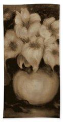 Floral Puffs In Brown Beach Towel
