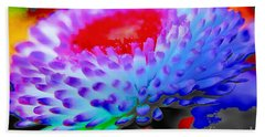 Floral Rainbow Splattered In Thick Paint Beach Towel