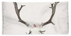 Floral Reindeer Skull  Beach Towel by Michele Carter