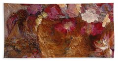 Floral Still Life Pinks Beach Sheet