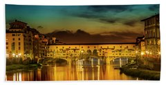 Florence Ponte Vecchio At Sunset Beach Towel