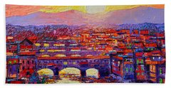 Florence Sunset Over Ponte Vecchio Abstract Impressionist Knife Oil Painting By Ana Maria Edulescu Beach Towel