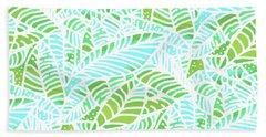 Beach Towel featuring the digital art Florida Keys Leaves by Karen Dyson