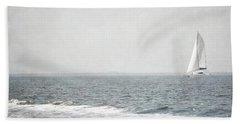 Florida Rustic Sailboat Ocean Landscape Beach Sheet by Andrea Hazel Ihlefeld