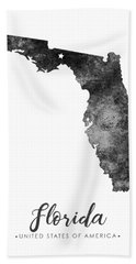 Florida State Map Art - Grunge Silhouette Beach Towel