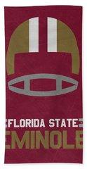 Florida State Seminoles Vintage Football Art Beach Towel by Joe Hamilton