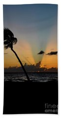 Beach Towel featuring the photograph Florida Sunrise Palm by Kelly Wade