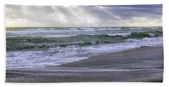 Florida Treasure Coast Beach Storm Waves Beach Sheet